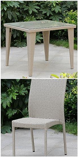 LuxuryGarden - Juego Mesa de jardín de ratán Beige con N.4 Sillas ...