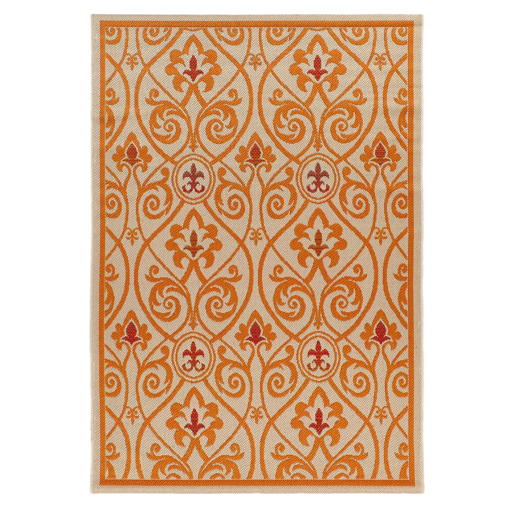 Carpet Art Deco Bellaire Collection Indoor Outdoor Rug, 5'3'' x7'5, Beige/Orange