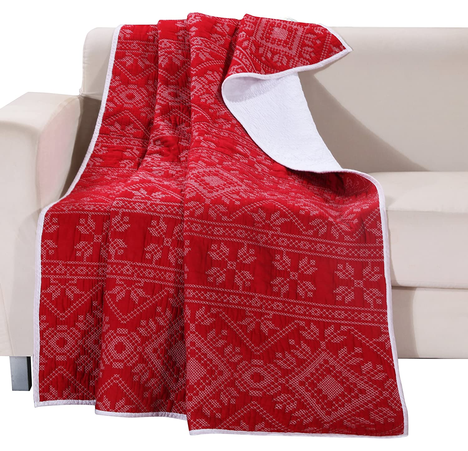 Greenland Home Holly Quilted Cotton Throw with Cross Stitching, Red
