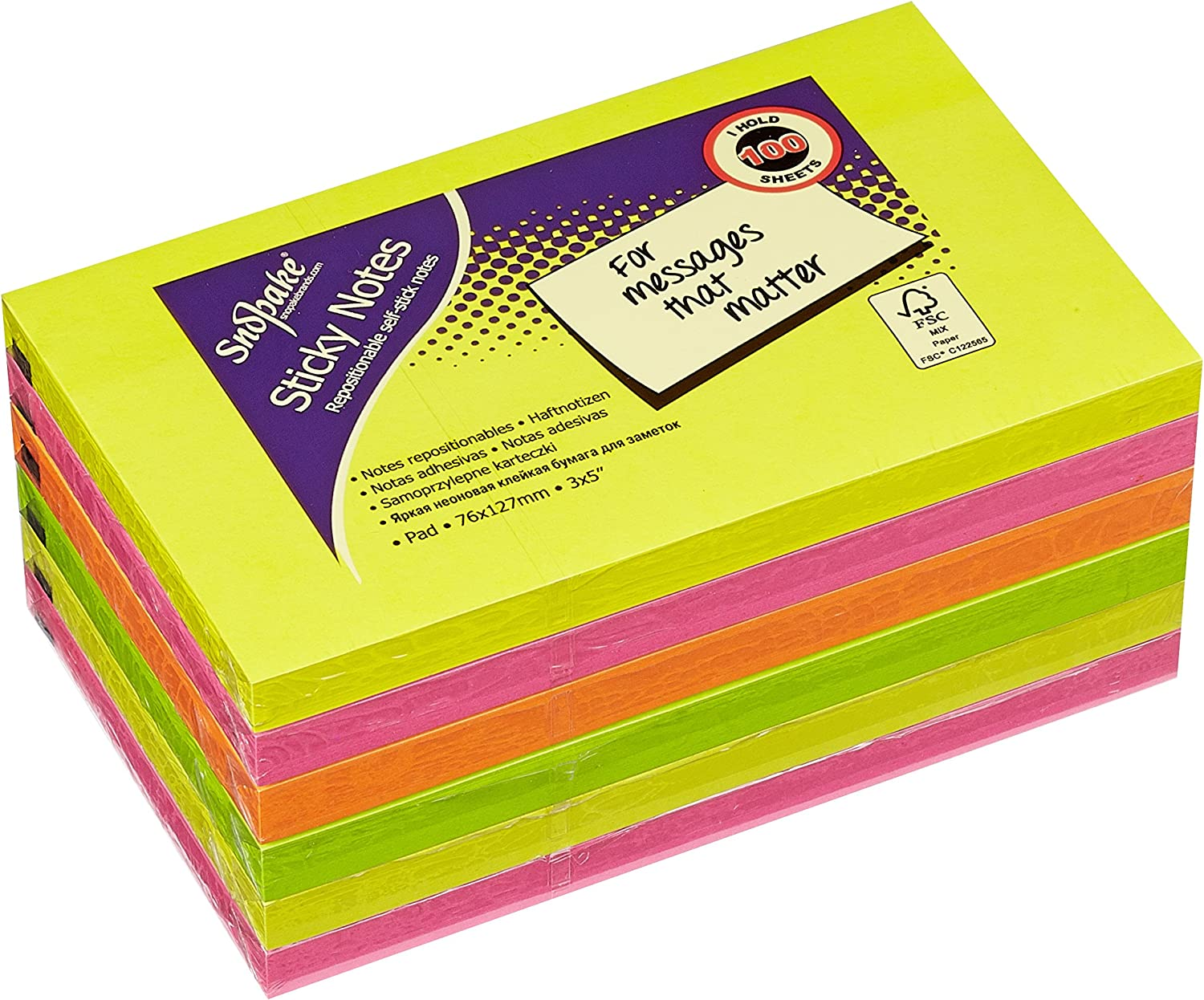POST NOTES STICKY NOTES REMOVABLE 76MM X 76MM BRIGHT NEON COLOURS 600 PACK