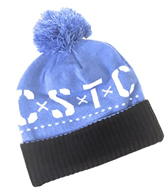 Mens Knit Hat Can t Stop the Crooks C.S.T.C. Pom Pom Black Blue at ... c95d7c286