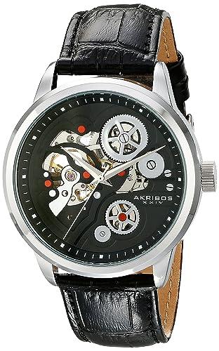 b826ba9e86b Akribos XXIV Men s Bold Mechanical Skeleton Watch with Black Leather Band  AK538BK  Amazon.co.uk  Watches