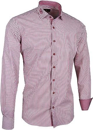 Giorgio Capone - Camisa Casual - para Hombre Rojo y Blanco a Cuadros Large Regular-Más con Brusttasche: Amazon.es: Ropa y accesorios