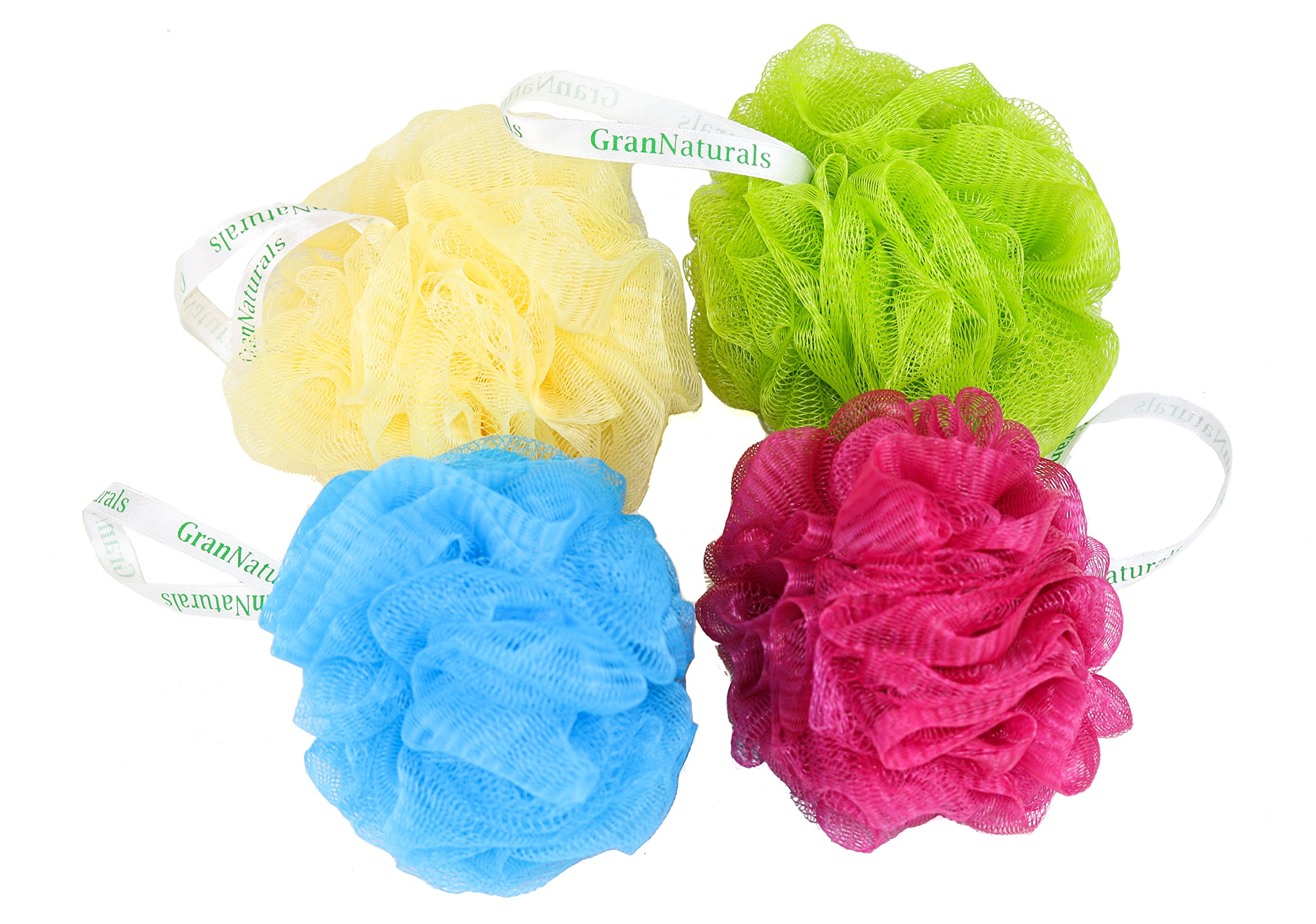 Bath & Shower Mesh Pouf Sponge Loofah - 4 Color Pack Set - Scrubber works with Body Wash, Shower Gel, and Lotion - For Men, Women, and Kids - Poufs Scrub with Exfoliating Texture