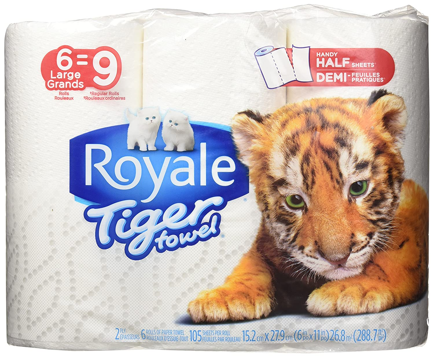 Royale Tiger Towel Paper Towels, Handy Half Sheets, 6 Large Rolls Irving Consumer Products Ltd 63435-72035-2