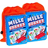 Mille Bornes Card Game in Tin, Bundle of 2, with 2 Orange Mesh Drawstring Pouches, Bundled Items