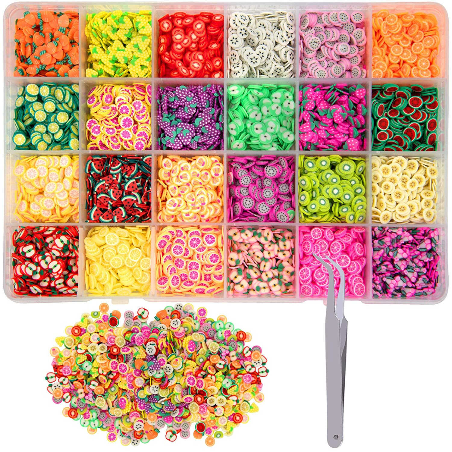 Duufin 16800 Pcs Nail Art Fruit Slices Colorful 3D Fruit Nail Slices with a Tweezers for Art DIY, Slime Making, Craft, Decoration