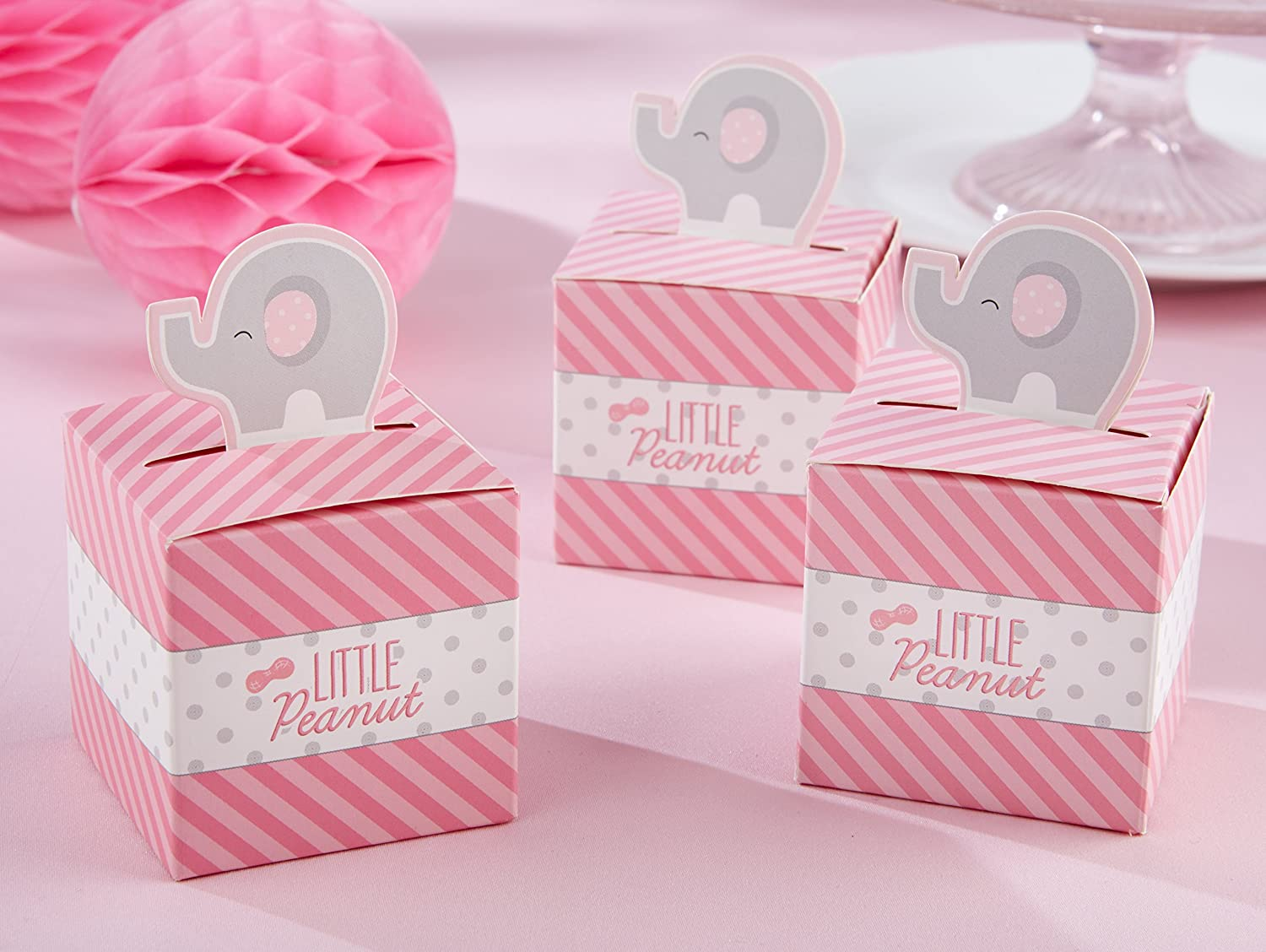 Amazon.com : Kate Aspen Little Peanut Elephant Favor Box, Pink : Baby