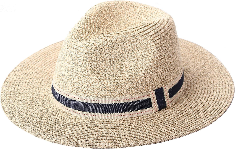 RIONA Donne Cappello Tesa Larga Elegante Cappello Protezione UV Paglia da Cappello della Spiaggia Protezione Solare Cappello da Sole Estate Cappello Panama