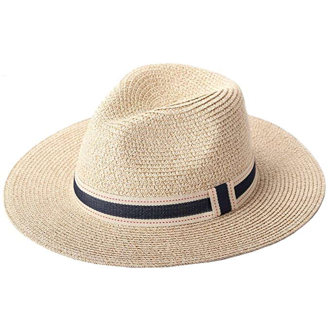 de4647f414951 Image Unavailable. Image not available for. Color  RIONA Women Wide Brim  Straw Panama Roll up Hat Fedora Beach Floppy Sun Hat Summer UPF50+