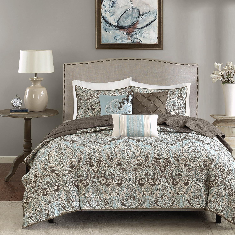 "Madison Park Quilt Set Traditional Damask Design, All Season, Lightweight Coverlet Bedspread Bedding Set, Matching Shams, Pillows, King/Cal King(104""x94""), Geneva, Brown/Blue 6 Piece"