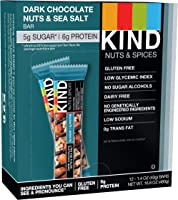 KIND Bars, Dark Chocolate Nuts & Sea Salt, Gluten Free, Low Sugar, 1.4oz, 12 Count