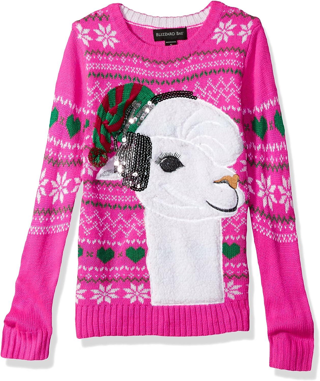 Blizzard Bay Girls' Big Fuzzy Llama WSequin Xmas Sweater