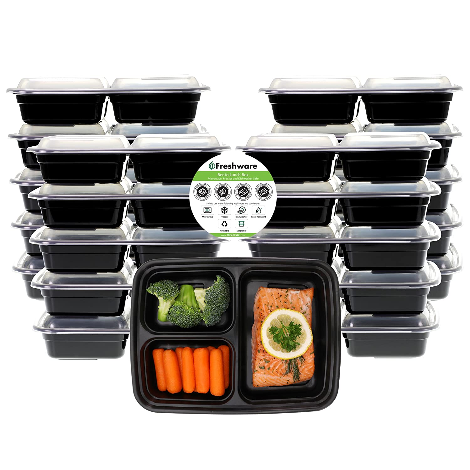 Freshware Meal Prep Containers [21 Pack] 3 Compartment with Lids, Food Storage Bento Box | BPA Free | Stackable | Lunch Boxes, Microwave/Dishwasher/Freezer Safe, Portion Control, 21 Day fix (24 oz) YH-3X21B