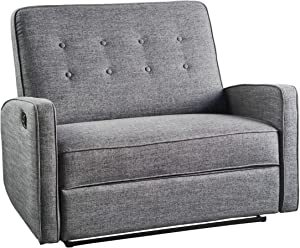 Christopher Knight Home Calliope Buttoned Fabric Reclining Loveseat, Grey / Black