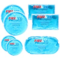 Fire & Ice Hot Cold Gel Packs-7 Reusable Packs In 4 Sizes for Multiple Applications...
