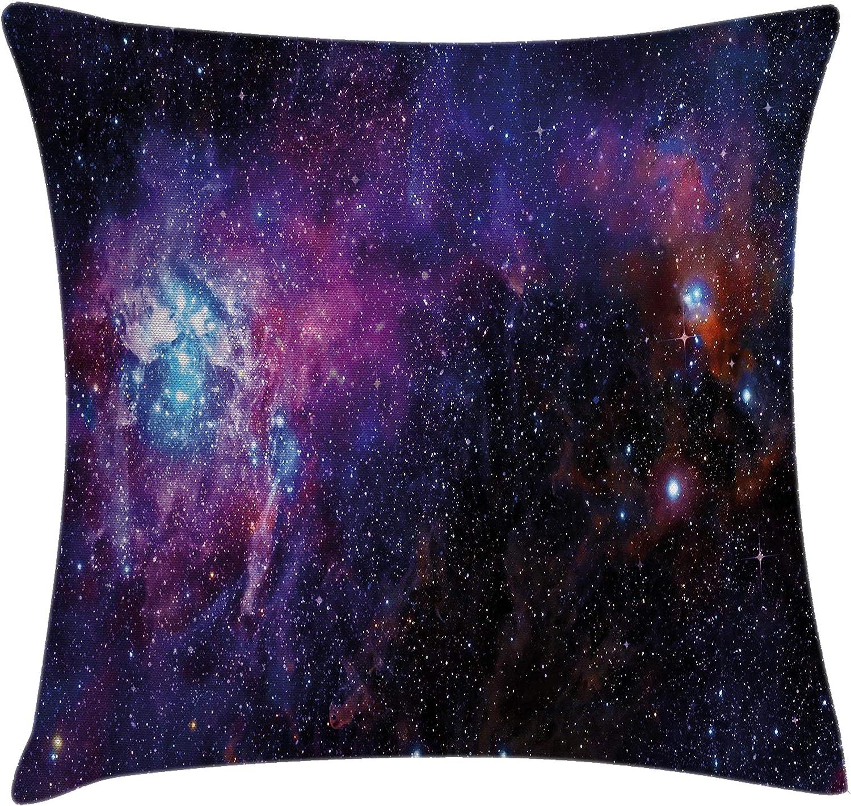 Negro P/úrpura 18 X 18 Starry Night Nebula Cloud Celestial Theme Image Space Art Elements Print Funda de Almohada Decorativa con Acento Cuadrado Hart.M Galaxy Throw Pillow Coj/ín
