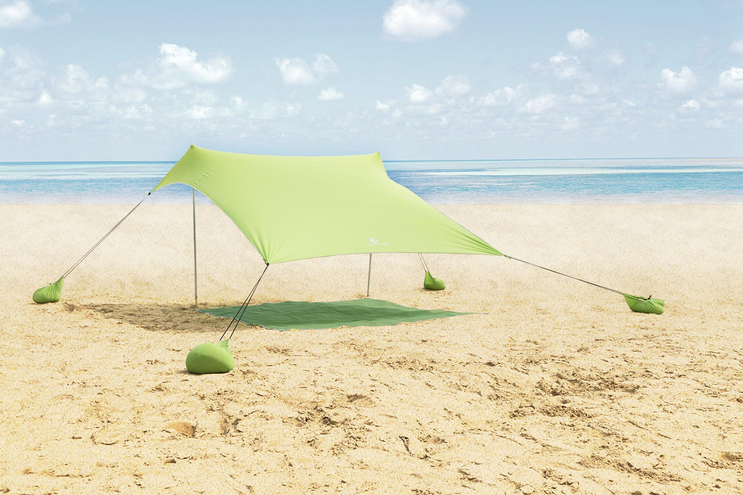 ALPHA CAMP Beach Shade Portable Canopy Sun Shelter with Sandbag Anchors - 7.6' x 7.2' Green by ALPHA CAMP