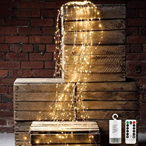 ZNYCYE 8 Modes 200 LED String Lights, 10 Strand Cascading Watering Can Lights Battery Operated Waterproof Lights for Outdoor & Indoor Waterfall Lights Holiday Party Decorations(Warm White)