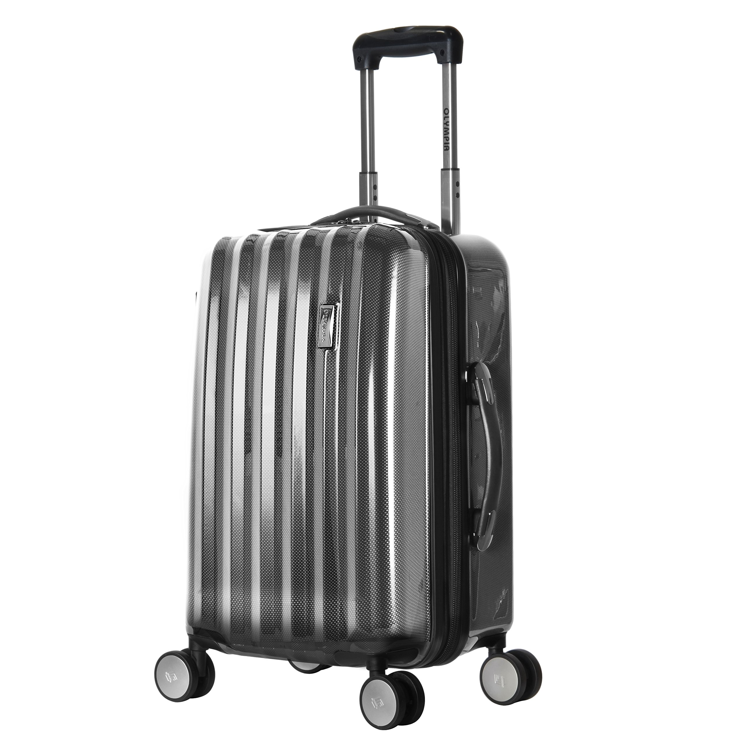 Olympia Luggage Titan 21 Inch Expandable Carry-On Hardside Spinner, Black, One Size by Olympia (Image #1)