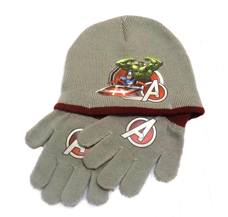28c2e1a4e28f2 Boys Marvel Assemble Avengers Winter Hat   Gloves Set Kids 2 Pieces ...