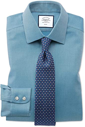 Camisa sin Plancha Verde Azulado de Tejido de Espiga Slim fit sin Plancha: Amazon.es: Ropa y accesorios