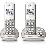 Philips XL4952S Duo 2 Téléphones Fixe sans Fil avec Répondeur, Haut-parleur, Amplification du Son, Compatibles Appareil Auditif