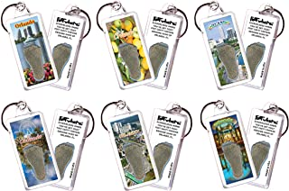 product image for Orlando FootWhere Keychains. 6 Piece Set. Authentic Destination Souvenir acknowledging Where You've Set Foot. Genuine Soil of Featured Location encased Inside Foot Cavity. Made in USA