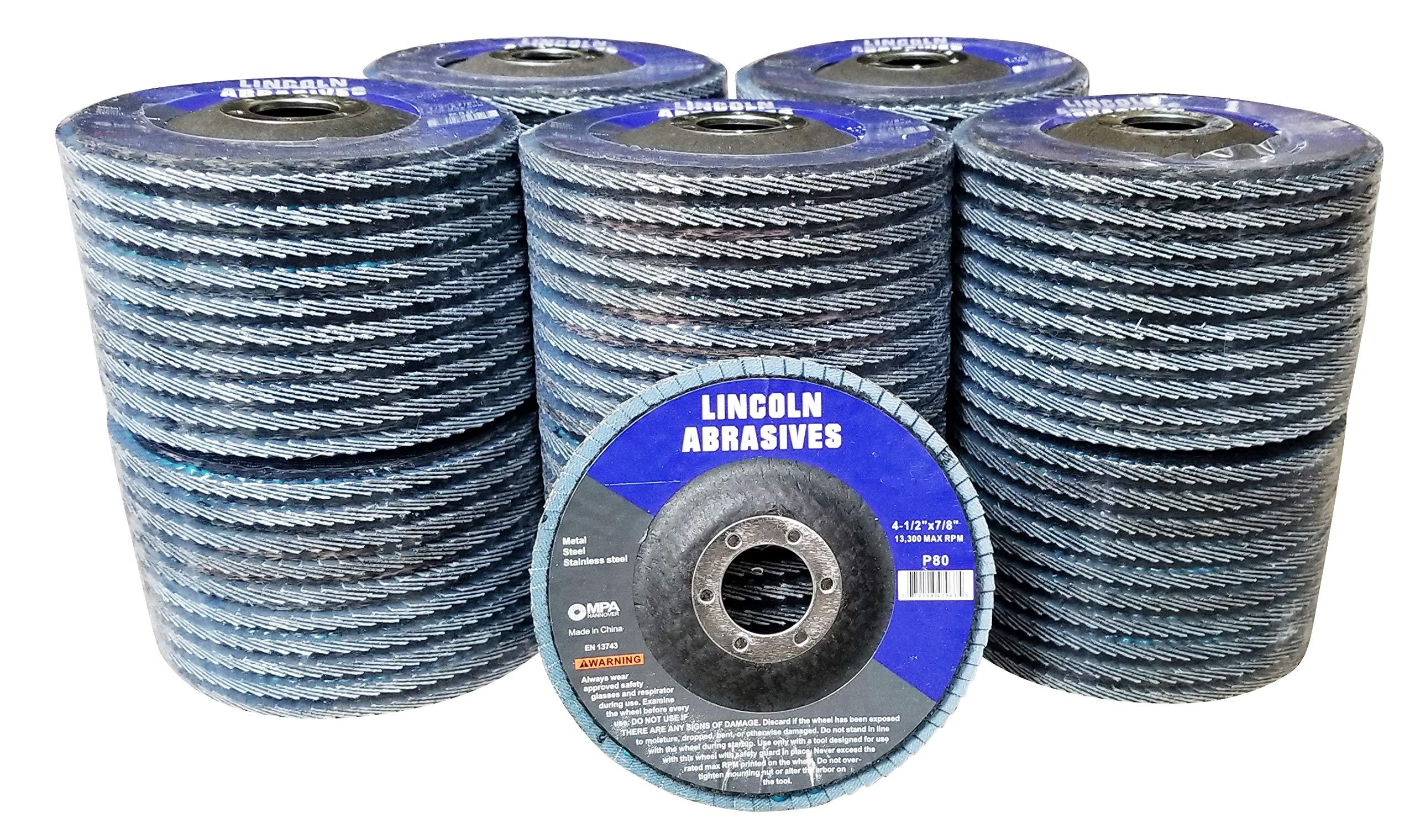 100 Pack Flap Discs 80 Grit 4.5'' x 7/8'' Sanding Wheels