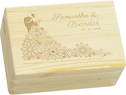 LAUBLUST Engraved Wooden Memory Box - Size L, 12x8x6in - ❤ PERSONALIZED ❤️