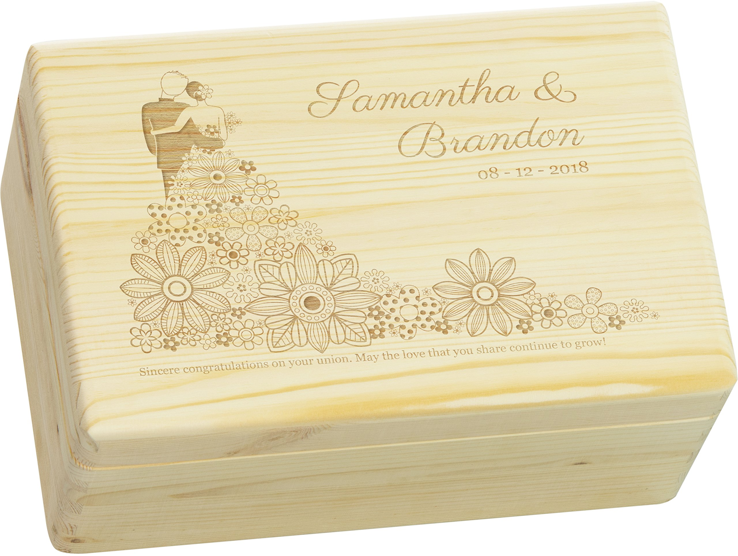 LAUBLUST Engraved Wooden Memory Box - Size L, 12x8x6in - ❤️ Personalized ❤️ Gift Box for Wedding - Floral Bridal Gown | Natural Wood - Made in Germany