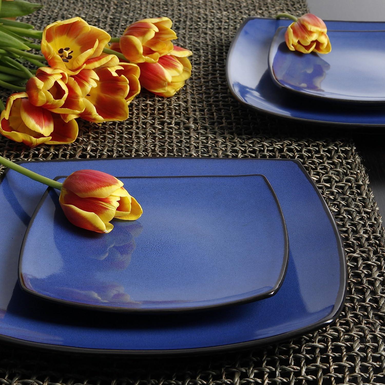 | Gibson Soho Lounge Dinnerware set, Square, Blue: Dinnerware Sets