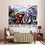 Roommates rmk1153bcs marvel heroes peel for Avengers wall mural amazon