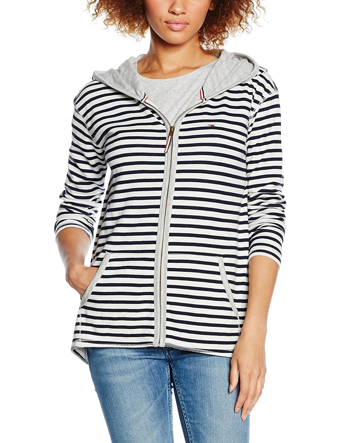 Hilfiger Denim Damen Kapuzenpullover Thdw Hd Stripe Zip Thru Ls 6