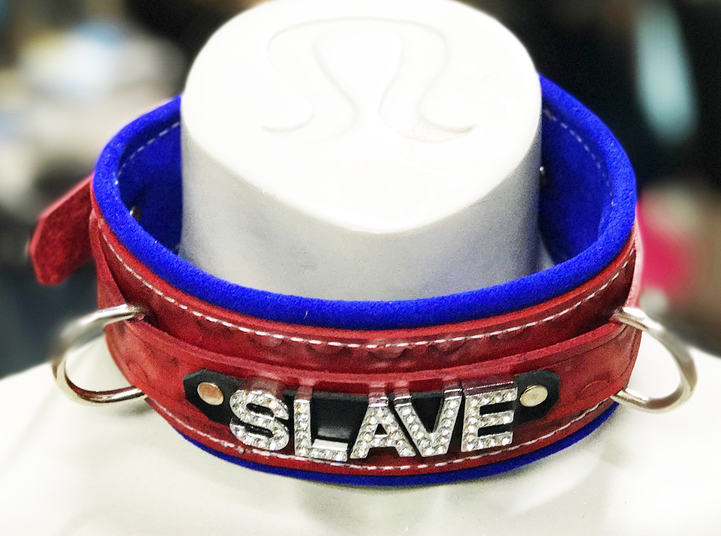 Red and Blue Leather restraint SLAVE collar with soft suede lining