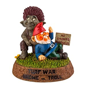 BigMouth Inc. The Turf War Garden Gnome - Troll vs. Gnome, Hilarious Yard Decoration, Funny Gift for Gardener