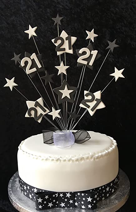 21st Black And White Star Birthday Cake Topper PLUS 1 x Metre 25mm ...