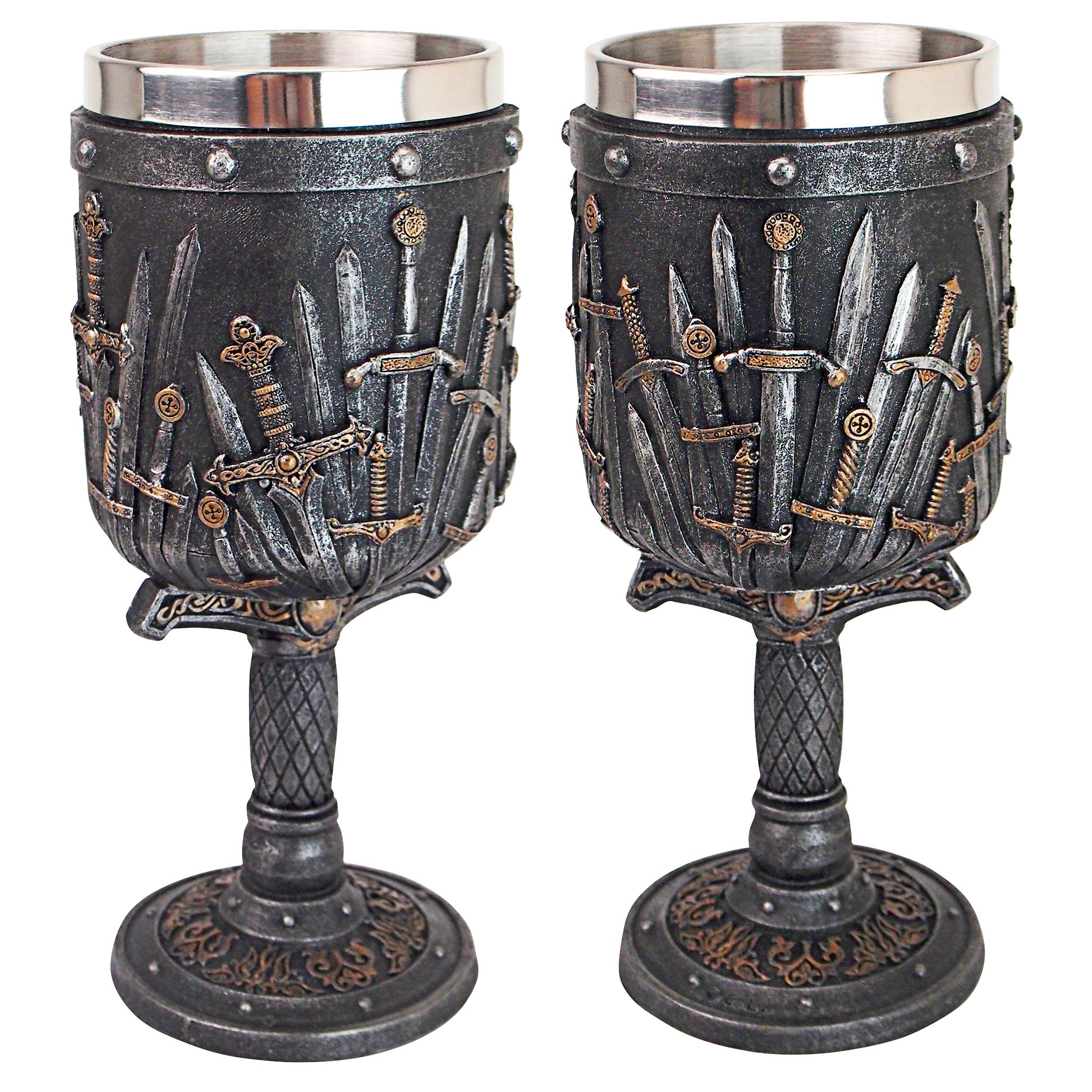 Design Toscano CL97423 Lord of the Swords Gothic Goblet, 8.5 Inches, greystone
