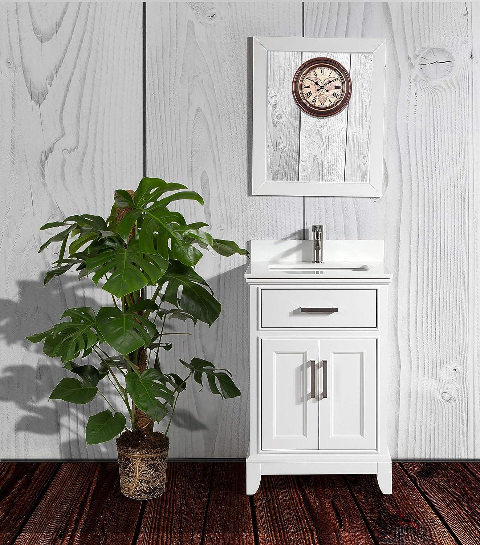 Vanity Art 24 Inches Single Sink Bathroom Vanity Set White Super Phoenix Stone Top 1 Drawer 1 Shelf Undermount Rectangle Sink Cabinet With Free Mirror Va1024 W Amazon Com