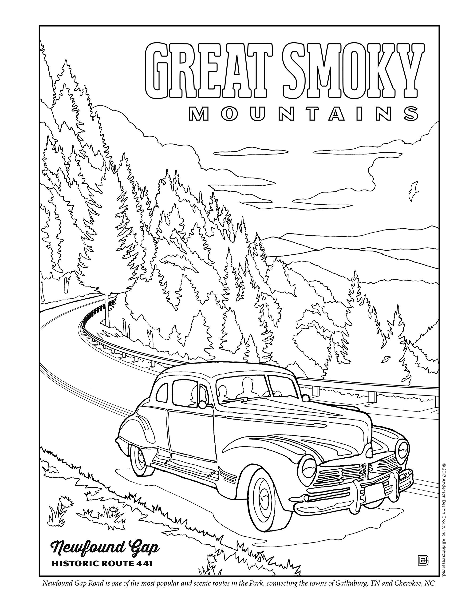 illustrated guide to great smoky mountains coloring book anderson Gatlinburg TN Wedding illustrated guide to great smoky mountains coloring book anderson design group 9780996777766 amazon books