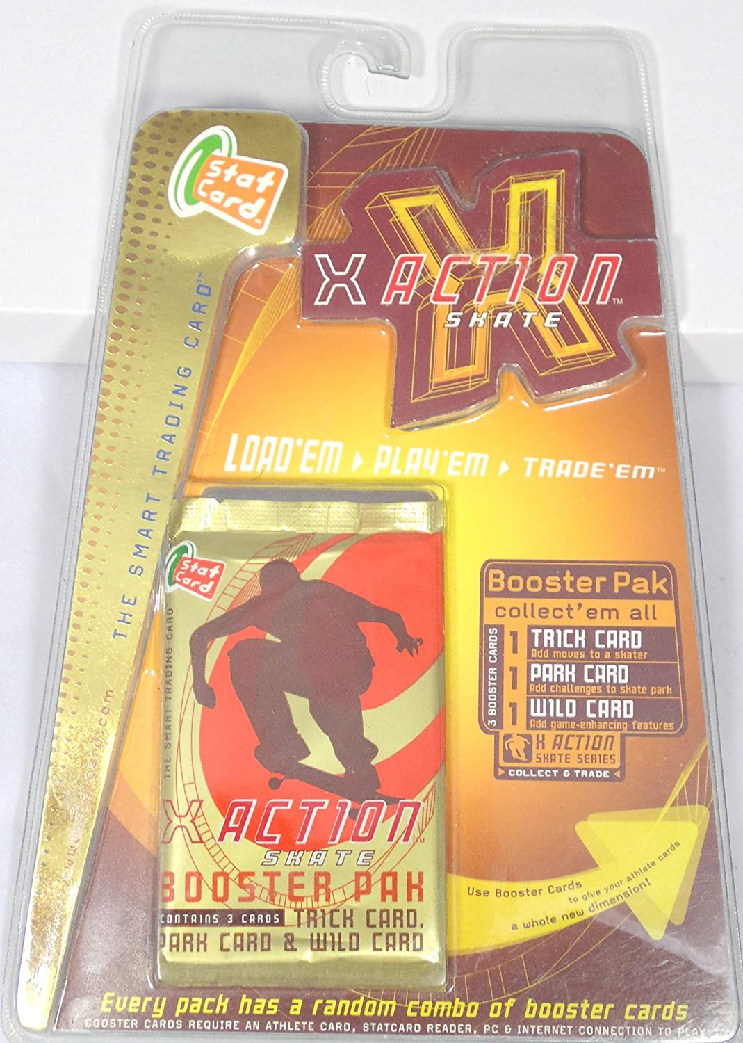 Set of 3 X Action Skateboarding Stat Card Booster Pak Trading Cards