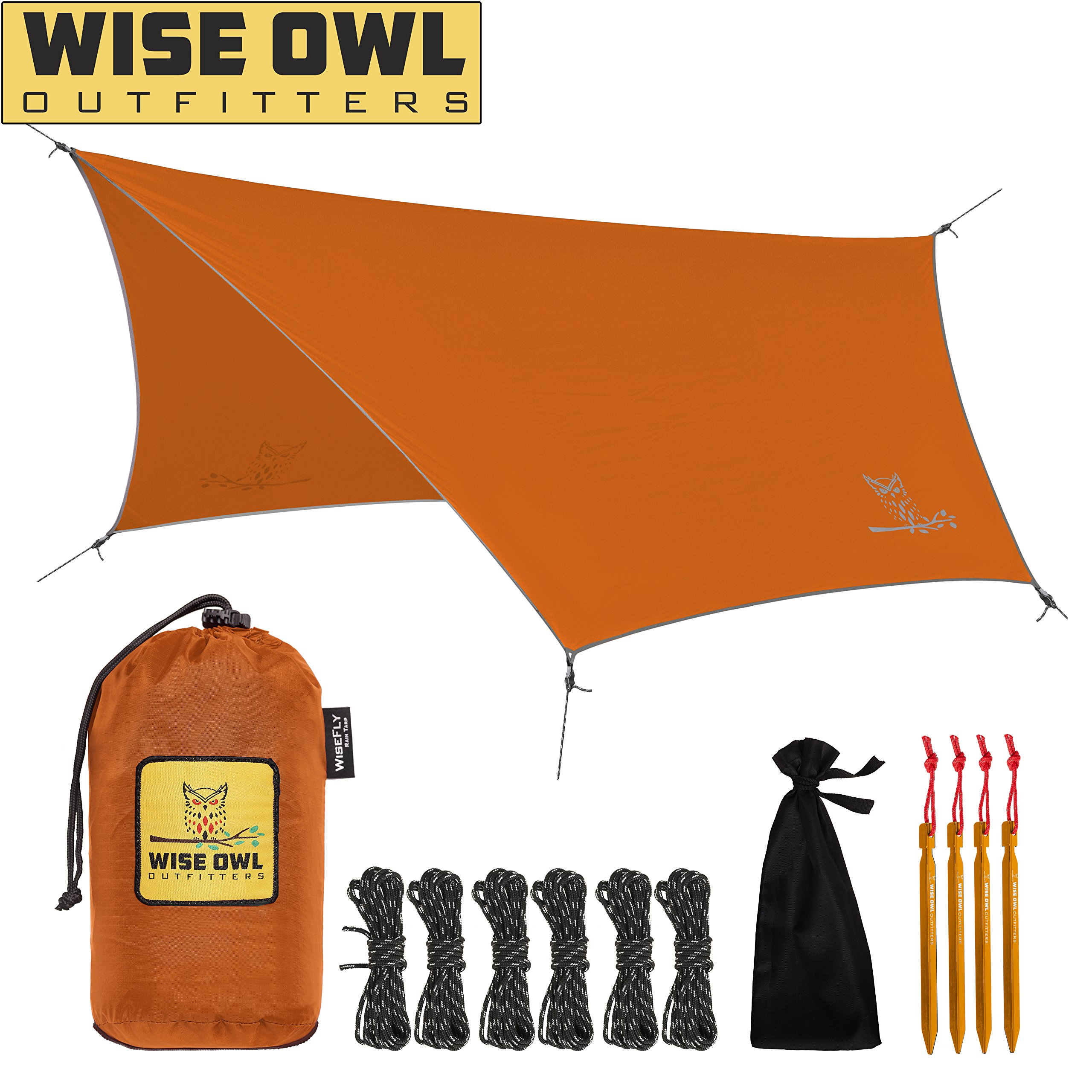 Wise Owl Outfitters Rain Fly Tarp - The WiseFly Premium 11 x 9 ft Waterproof Camping Shelter Canopy - Lightweight Easy Setup for Hammock or Tent Camp Gear - Orange by Wise Owl Outfitters
