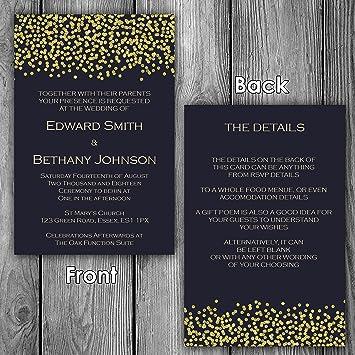 Hochzeit Einladungen U0026 Briefumschläge Modern Tagsüber/Abends Empfang U2013  Design 3 Blau/Elfenbein/