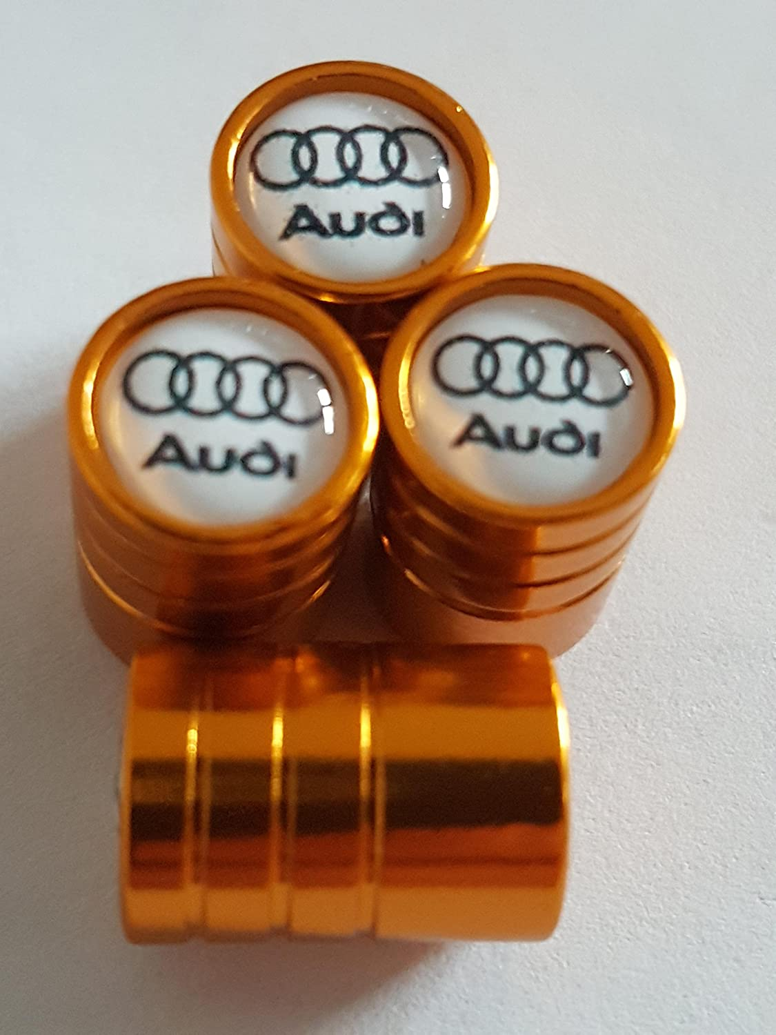Speed Demons AUDI BLACK AND WHITE TOP GOLD DELUXE CAR VALVE TYRE DUST CAP EXCLUSIVE TO US A1 A3 A4 A5 A6 A7 A8 Q3 Q5 Q7 TT R8 RS E-TRON S LINE
