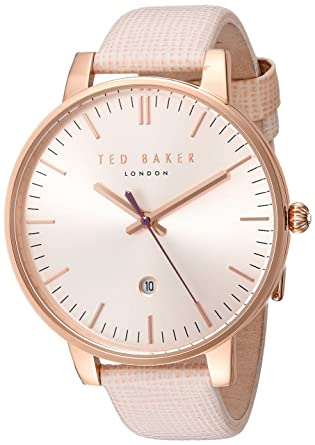 078afbeda Amazon.com  Ted Baker Women s Classic Stainless Steel Japanese-Quartz Watch  with Leather Strap