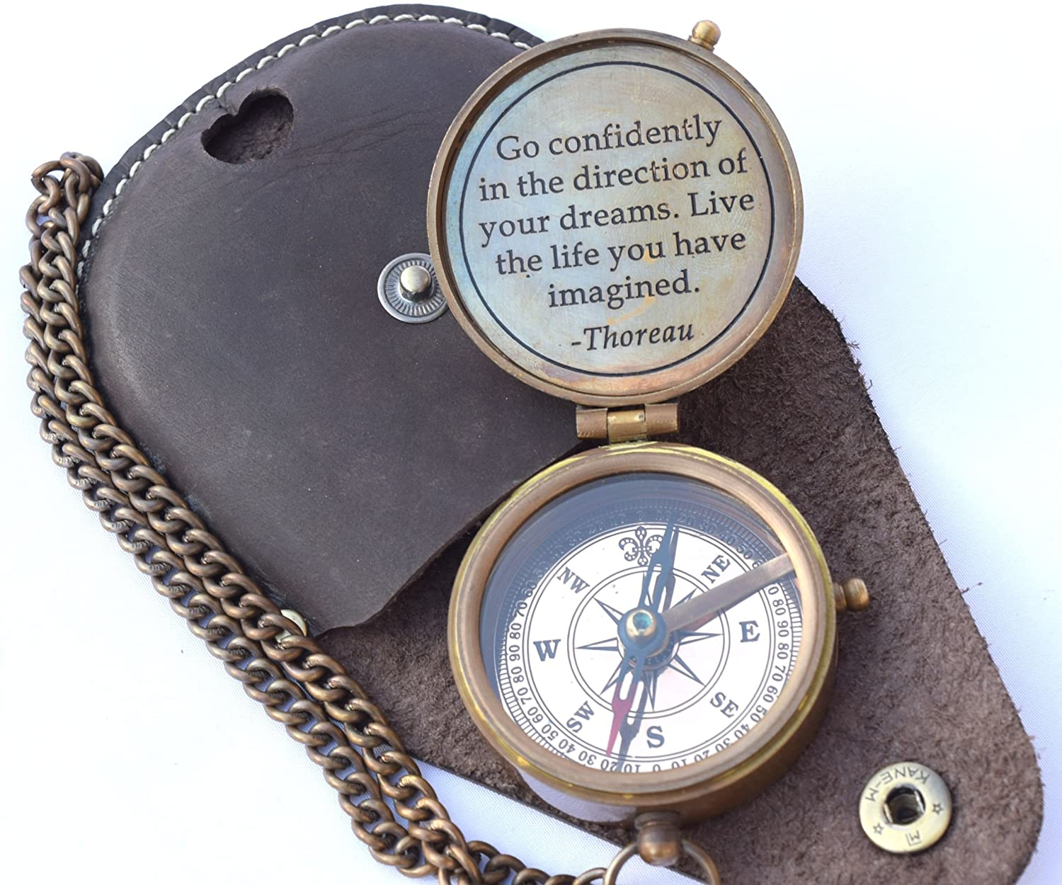 NEOVIVID Thoreau's Go Confidently Quote Engraved Compass with Stamped Leather case, Camping Compass, Boating Compass, Gift Compass, Graduation Day Gifts : Sports & Outdoors