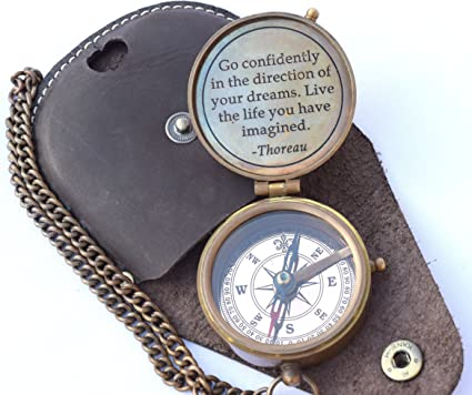 NEOVIVID Thoreau's Go Confidently Quote Engraved Compass