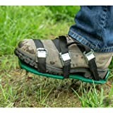 Punchau Pre-Assembled Lawn Aerator Shoes with Metal Buckles and 3 Straps - Heavy Duty Spiked Sandals for Aerating Your Lawn or Yard