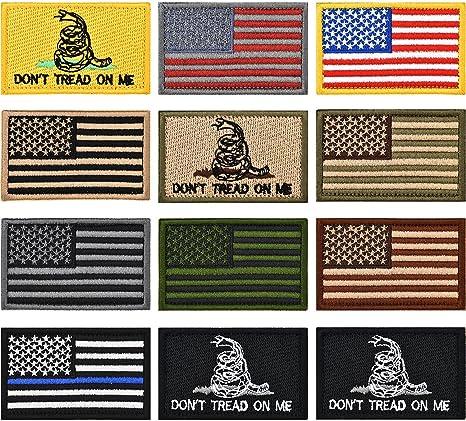 Parche bordado con bandera de Estados Unidos, 12 piezas, bandera de Estados Unidos, bandera táctica, parche militar, parches de bandera de Estados Unidos y no se rasga sobre mí parches militares morales: