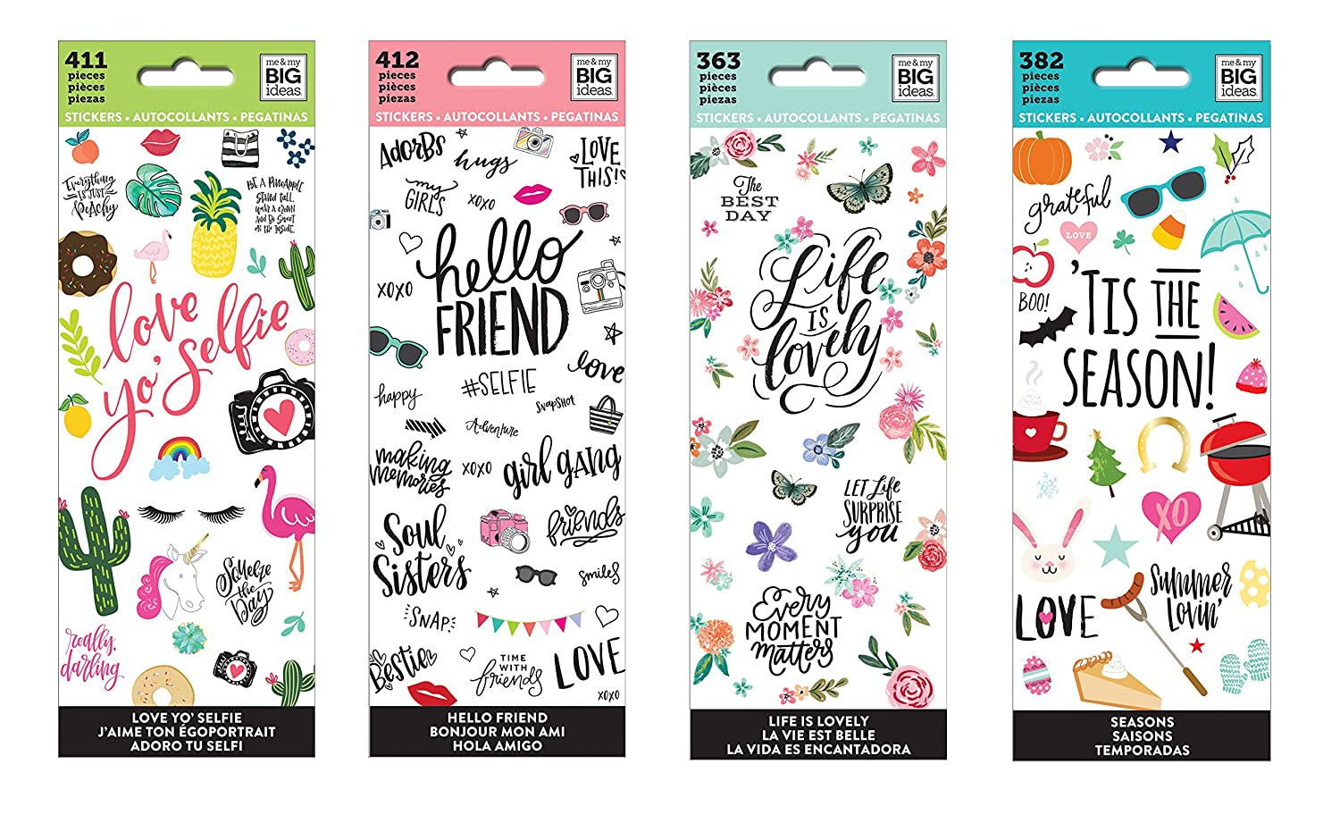 me & my BIG ideas The Happy Planner Sticker Value Pack: Love Yo' Selfie, Hello Friend, Life Is Lovely, 'Tis the Season (Set of 4) MAMBI 4336987564